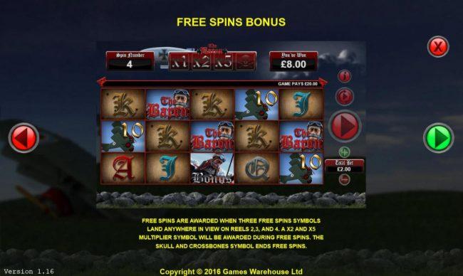 The Baron :: Free Spins Bonus Rules