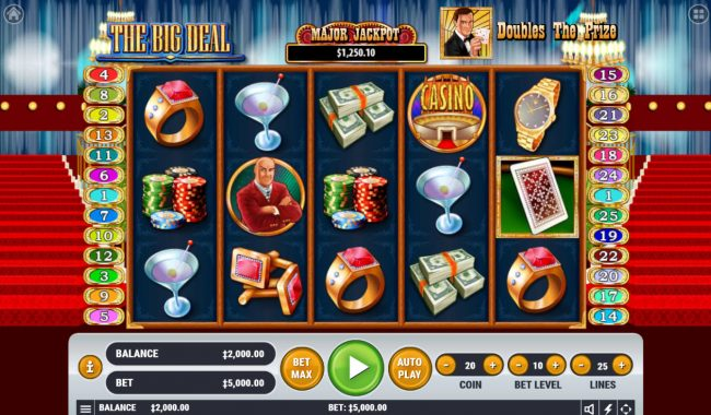 TheBesCasino featuring the Video Slots The Big Deal with a maximum payout of $2,500,000