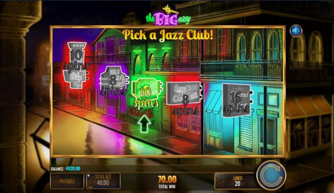 Pick a Jazz Club to reveal a free spins prize
