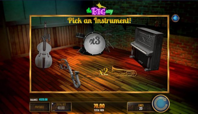 Pick an instrument to reveal a win multiplier