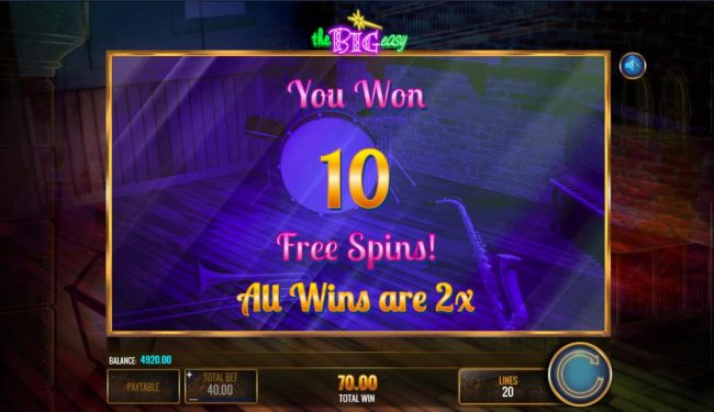 10 free spins with an x3 multiplier awarded player