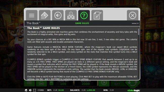 The Book :: General Game Rules - The theoretical average return to player (RTP) is 96.70%.