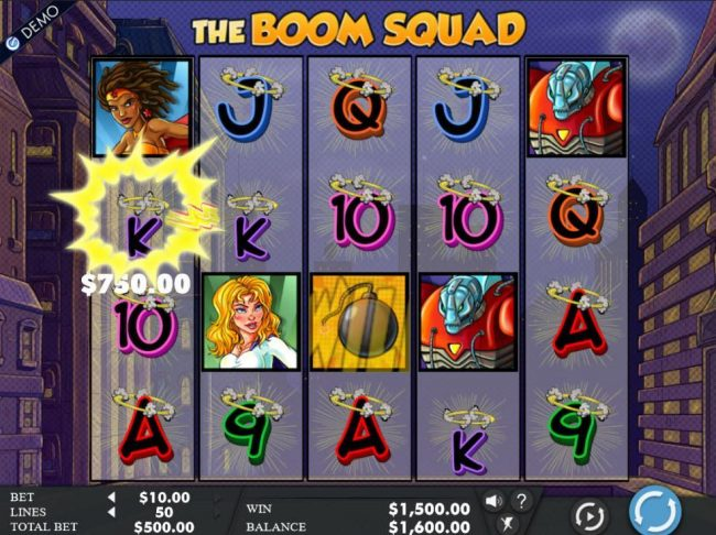 Bet At Casino featuring the Video Slots The Boom Squad with a maximum payout of $50,000