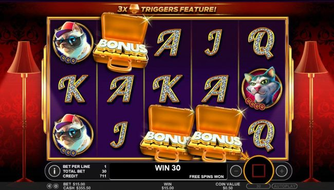 Spiral featuring the Video Slots The Catfather part II with a maximum payout of $25,000