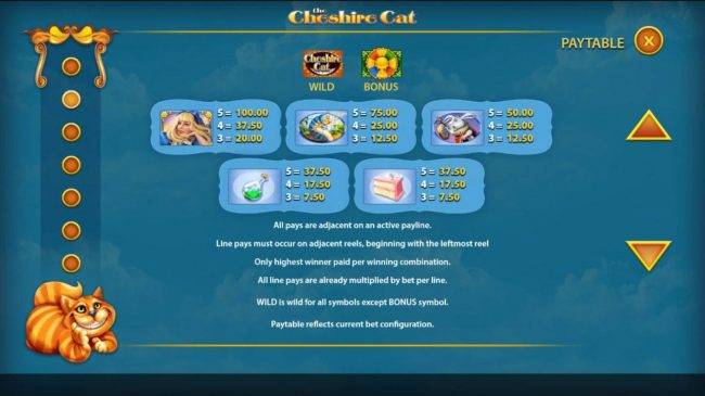 Simba Games featuring the Video Slots The Cheshire Cat with a maximum payout of $250,000