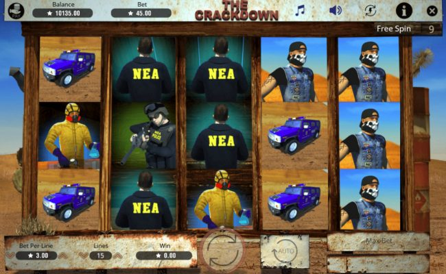 The Crackdown :: Free Spins Game Board