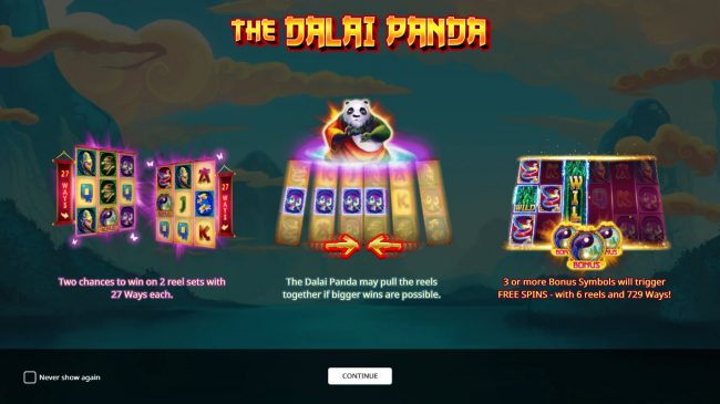 Wild Jackpots featuring the Video Slots The Dalai Panda with a maximum payout of $100,000