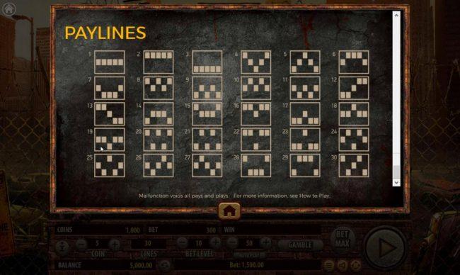 The Dead Escape :: Paylines 1-30