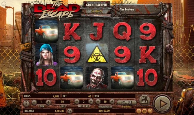 The Dead Escape :: Three pickup truck scatters in any position on the reels triggers the free spins feature
