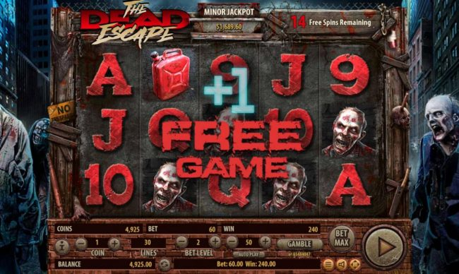 The Dead Escape :: Landing a gasoline can on the reels during the free spins feature will add 1 additonal free spin