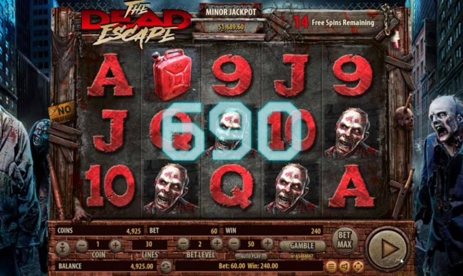 The Dead Escape :: Multiple winning paylines triggers a 690 coin big win during the free spins feature!