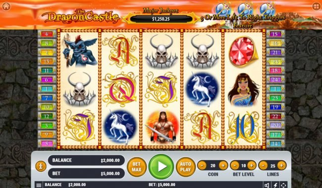 Vegas Crest featuring the Video Slots The Dragon Castle with a maximum payout of $2,500,000