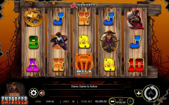 The Enforcer :: Main game board featuring five reels and 20 paylines with a $200,000 max payout.