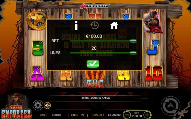The Enforcer :: Click on the GEAR button to adjust the coin size and numbers of lines played.