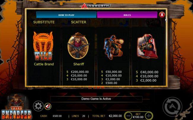 The Enforcer :: High value slot game symbols paytable - Base Game.