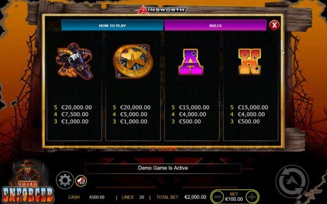 The Enforcer :: Medium Value Slot Game  Symbols Paytable - Base Game.