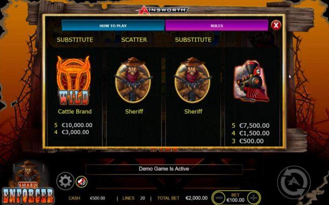 The Enforcer :: High value slot game symbols paytable - Free Games Bonus.