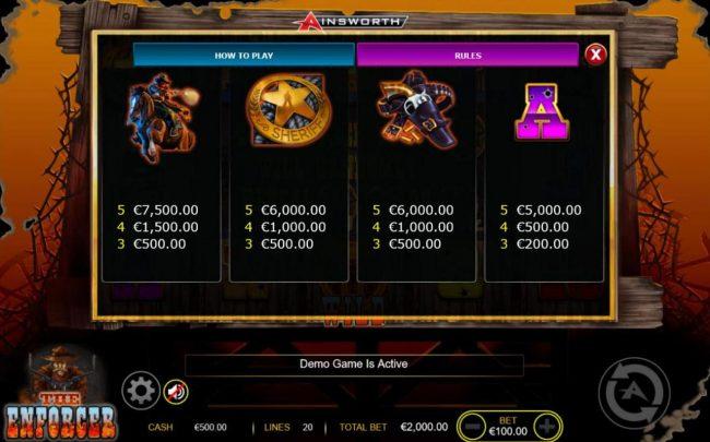 The Enforcer :: Medium Value Slot Game  Symbols Paytable - Free Games Bonus.