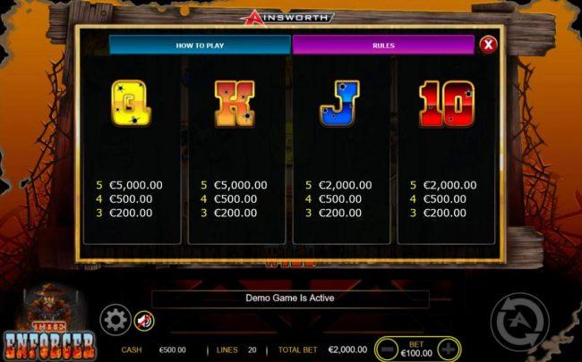 The Enforcer :: Low value game symbols paytable - Free Games Bonus.