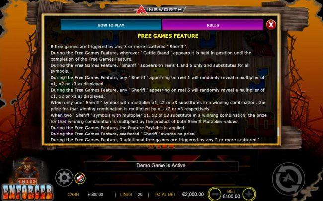 The Enforcer :: Free Games Bonus Rules