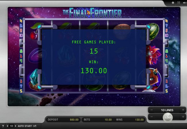 Spinrider featuring the Video Slots The Final Frontier with a maximum payout of $2,500