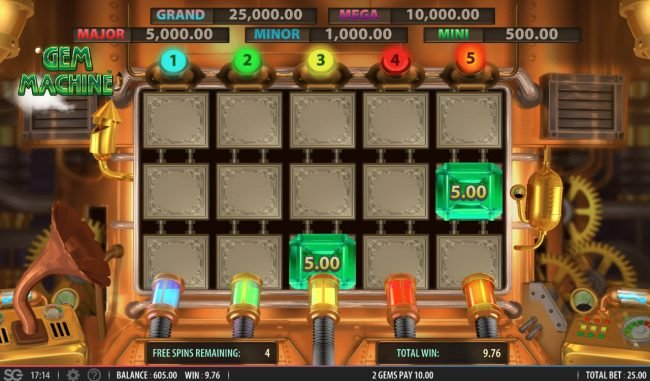 Play Million featuring the Video Slots The Gem Machine with a maximum payout of $250,000