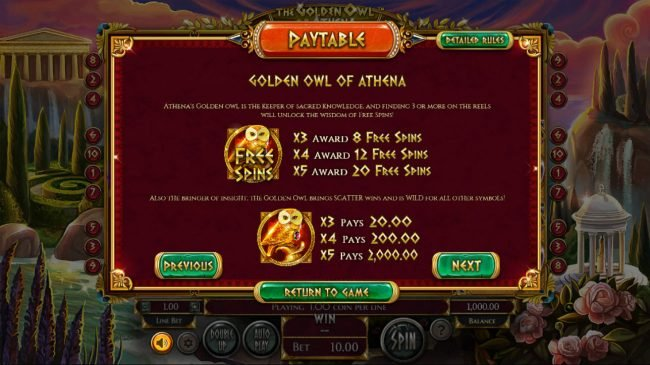 21 Dukes featuring the Video Slots The Golden Owl of Athena with a maximum payout of $562,200