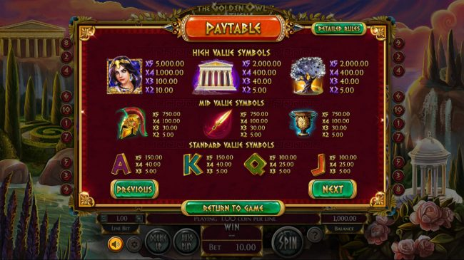 BetOnline featuring the Video Slots The Golden Owl of Athena with a maximum payout of $562,200