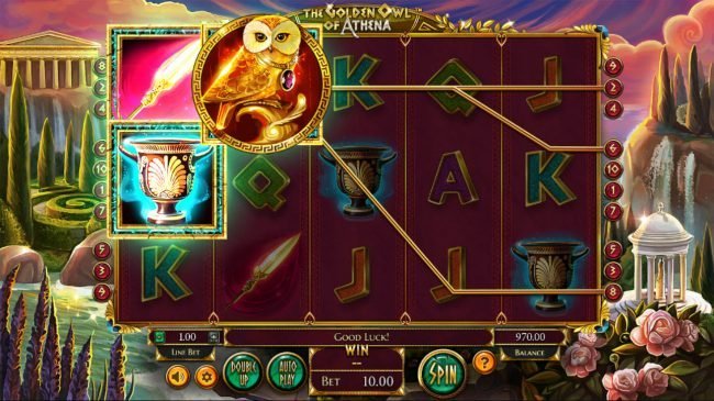 Pamper featuring the Video Slots The Golden Owl of Athena with a maximum payout of $562,200