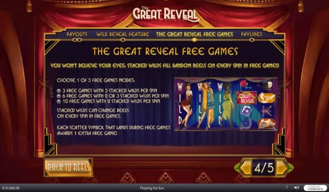 Class 1 Casino featuring the Video Slots The Great Reveal with a maximum payout of $100,000
