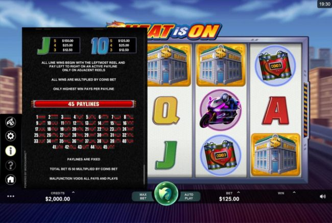 Payline Diagrams 1-45. All line wins begin with the leftmost reel and pay left to right on an active payline only on adjacent reels.