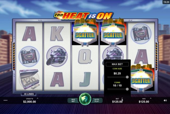 Sun Vegas featuring the Video Slots The Heat is On with a maximum payout of $2,500
