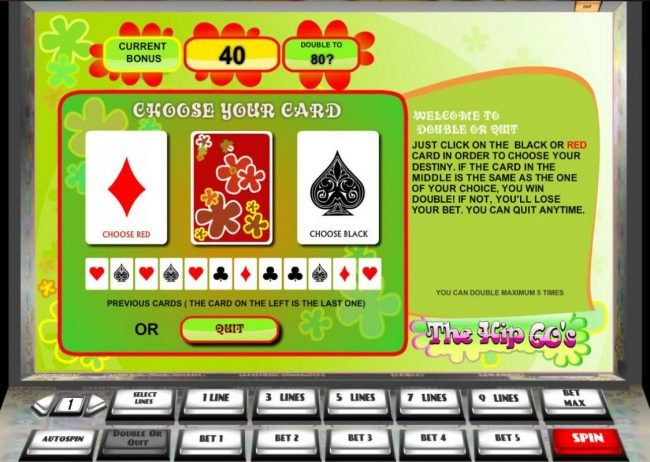 The Hip 60's :: Double or Quit - Simply click on RED or BLACK card to double your winnings.