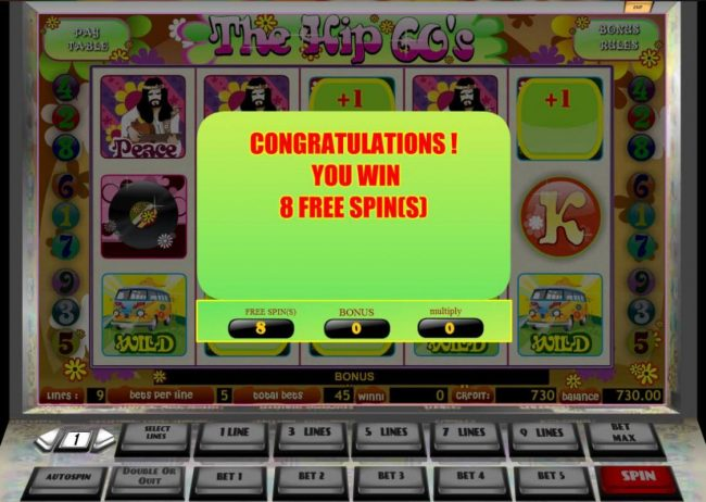 The Hip 60's :: 8 Free Spins awarded.