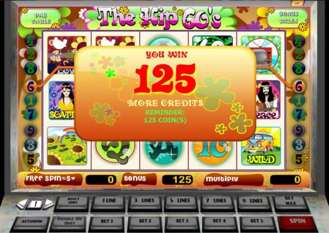 The Hip 60's :: 125 coins paid out during the Free Spins feature.