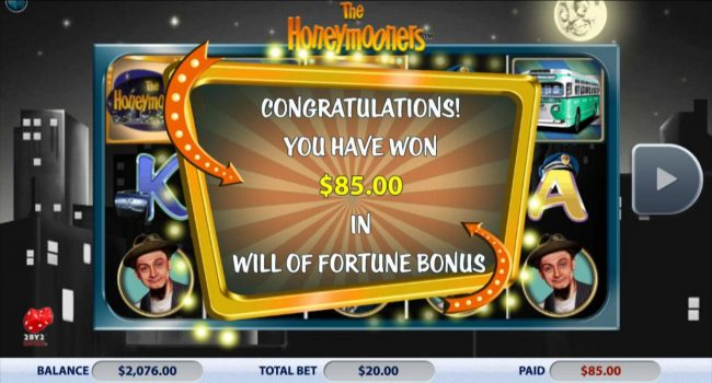 Slots Million featuring the Video Slots The Honeymooners with a maximum payout of $88,500
