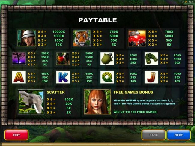 Oshi featuring the Video Slots The Jungle II with a maximum payout of $50,000