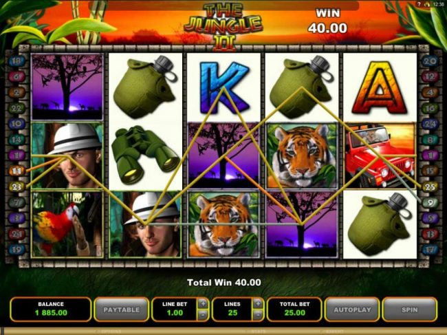 Spinrider featuring the Video Slots The Jungle II with a maximum payout of $50,000