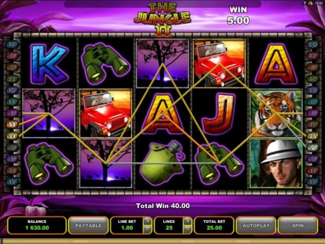 Lucky 247 featuring the Video Slots The Jungle II with a maximum payout of $50,000