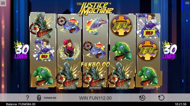 Winstar featuring the Video Slots The Justice Machine with a maximum payout of $202,500