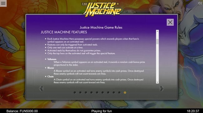 Mongoose Casino featuring the Video Slots The Justice Machine with a maximum payout of $202,500
