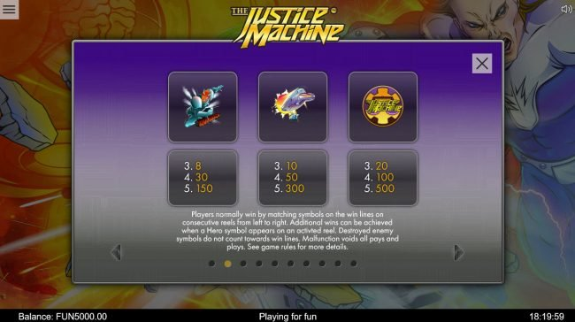 Play slots at TS: TS featuring the Video Slots The Justice Machine with a maximum payout of $202,500