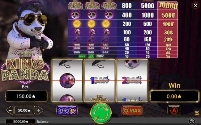 The King Panda :: Main game board featuring three reels and 1 payline with a $500,000 max payout.