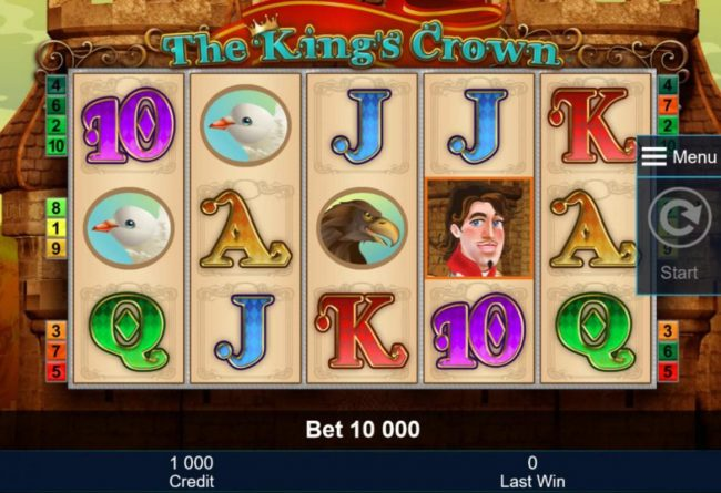 A medieval royal kingdom themed main game board featuring five reels and 10 paylines with a $2,000,000 max payout