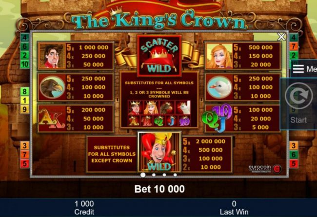 Slot game symbols paytable featuring medieval royal kingdom inspired icons.