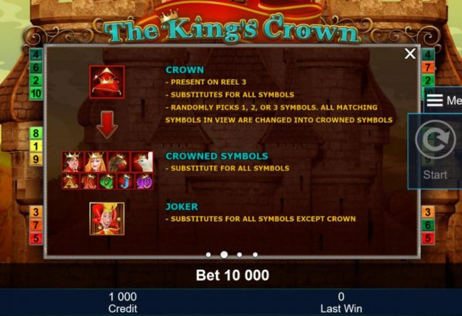 Crown symbol present on reel 3, substitutes for all symbols, randomly picks 1, 2 or 3 symbols. all matching symbols in view are changed into crowned symbols.