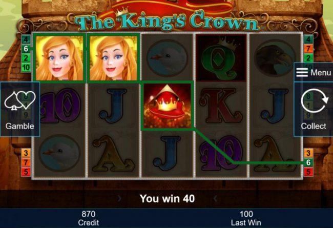 Crown symbols triggers a winning three of a kind