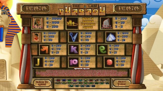 Villa Fortuna featuring the Video Slots The Last Pharaoh with a maximum payout of $2,500