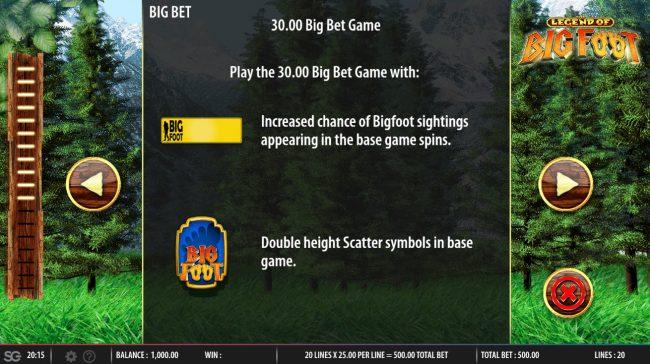 The Legend of Big Foot :: Big Bet Rules