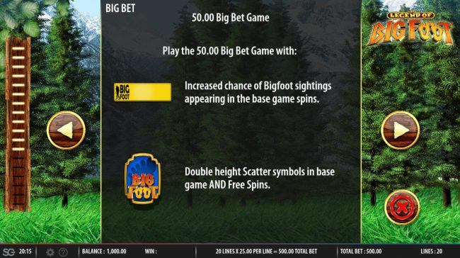 Wicked Jackpots featuring the Video Slots The Legend of Big Foot with a maximum payout of $250,000